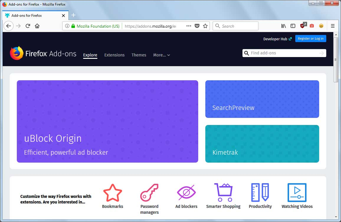 Mozilla Addons Page