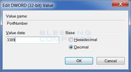 Edit the PortNumber value