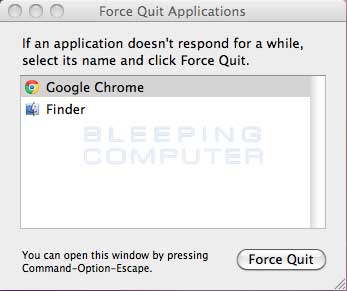 Force Quit Applications Menu