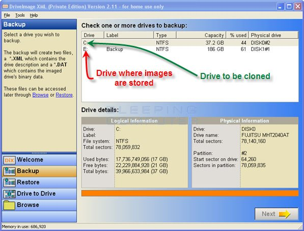 Select drive to backup