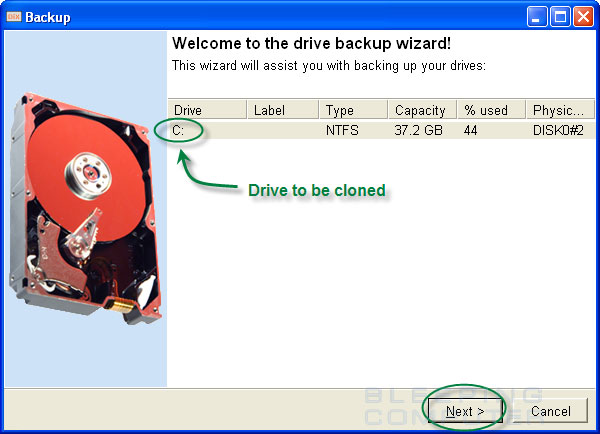 Drive backup wizard