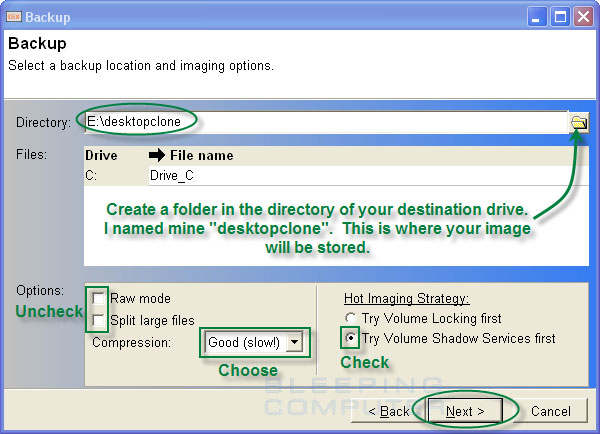 Backup option screen