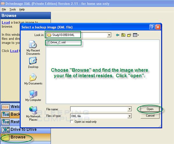select a backup image (XML) file