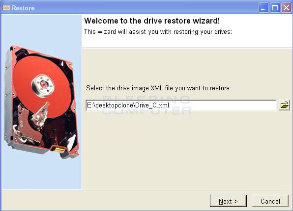 Select the XML backup image