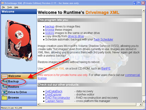 DriveImage XML Start Screen