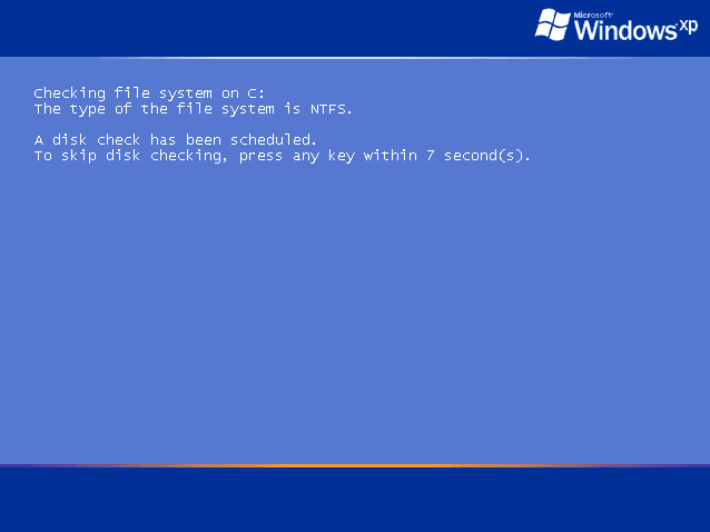 Figure 2: Windows XP performing Check Disk on the C: Drive