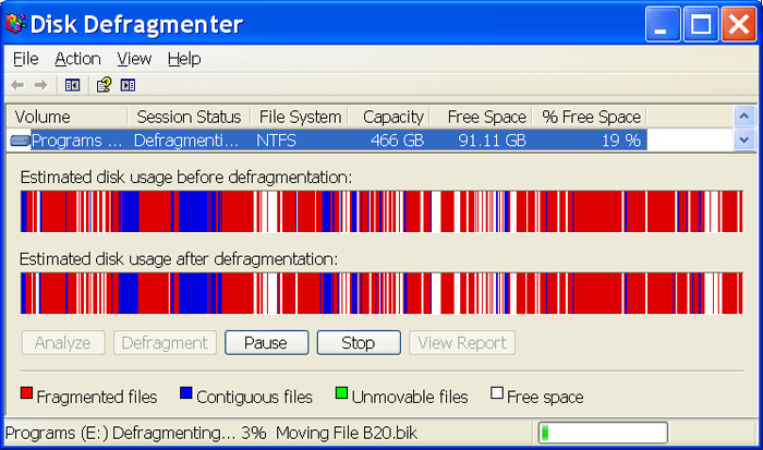 Figure3: Defragmenting Under Windows XP
