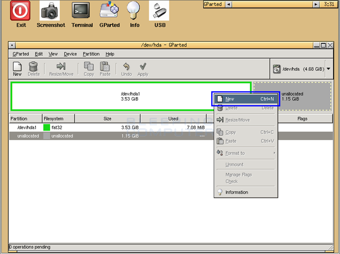 Resizing and Adding Partitions using GParted Live