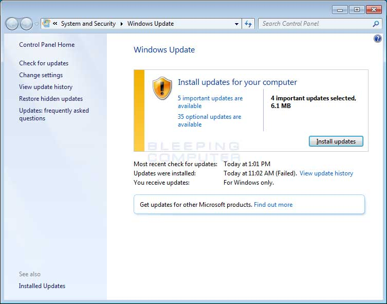 Windows 7 Windows Update Screen