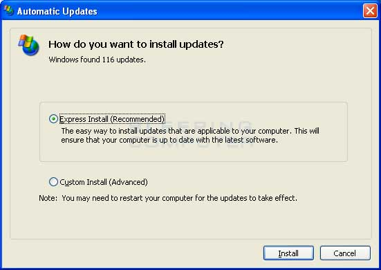 Install Updates screen on Windows XP