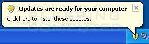 Install updates alert in Windows XP