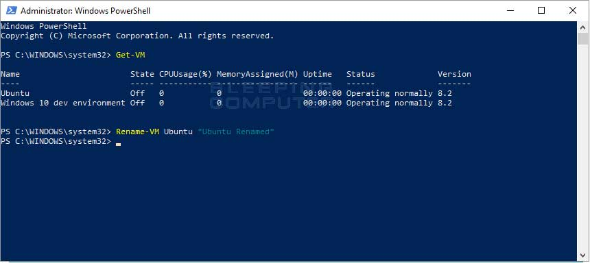 Rename-VM PowerShell Command
