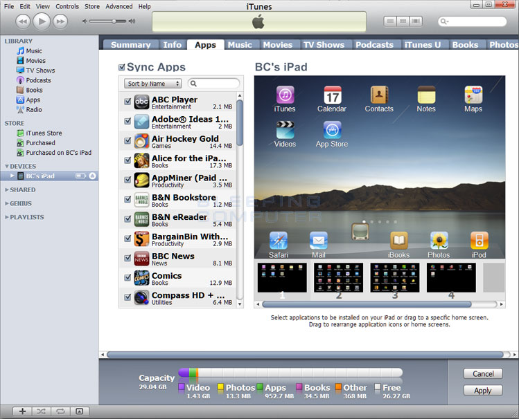 Adding an app to the dock through iTunes