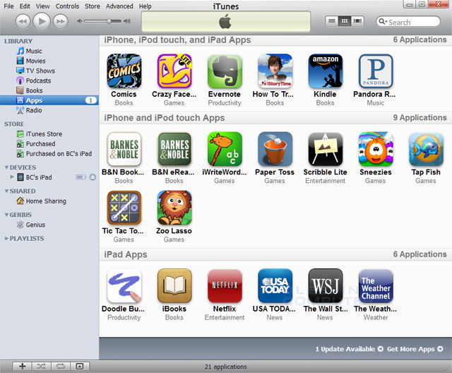 iTunes Apps Library