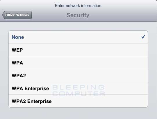 Select the encryption type for the wireless network