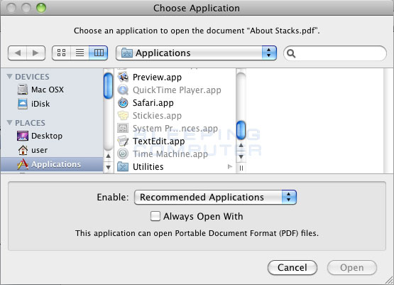 Choose Application dialog