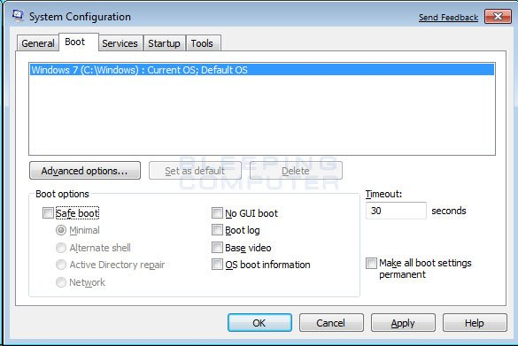 Vista Boot tab in the System Configuration utility