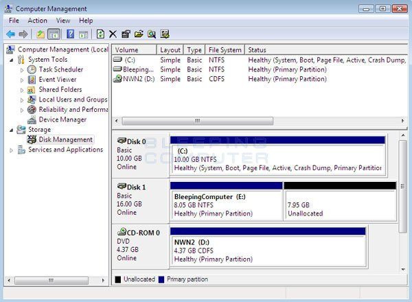 Windows Vista After shrinking a volume