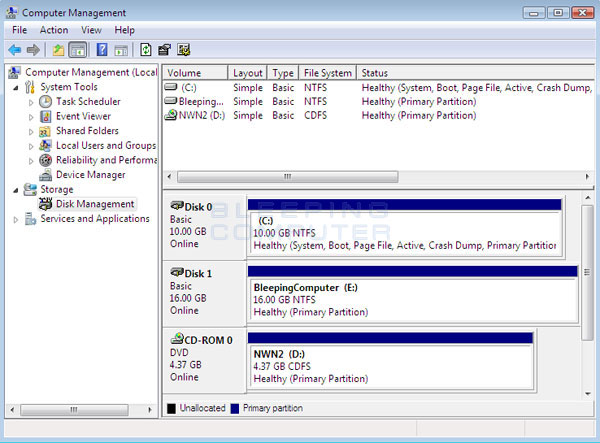 Windows Vista before shrinking