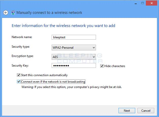 Manual Wireless network conncetion settings