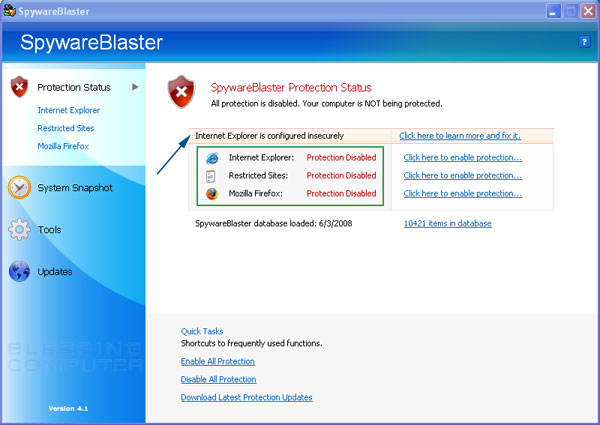Using SpywareBlaster to protect your computer from Spyware