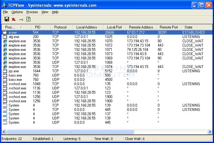 TCPView showing a unwanted connection