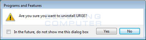 Confirmation screen to continue with the uninstall