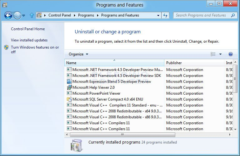 Windows 7 and Windows 8 Programs and Features Screen