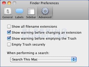 Mac OS Advanced Finder Preferences.