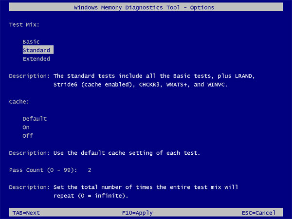 Windows Memory Diagnostics Options