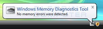 Windows Memory Diagnostics Tool Results