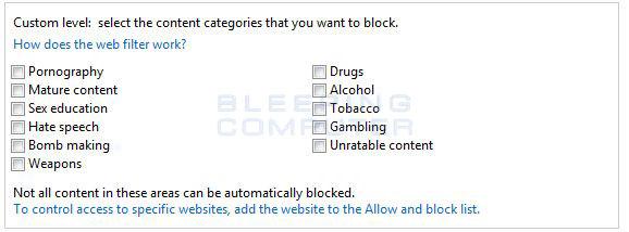 Custom Content Filtering Level