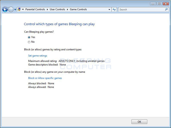 Game Controls Screen
