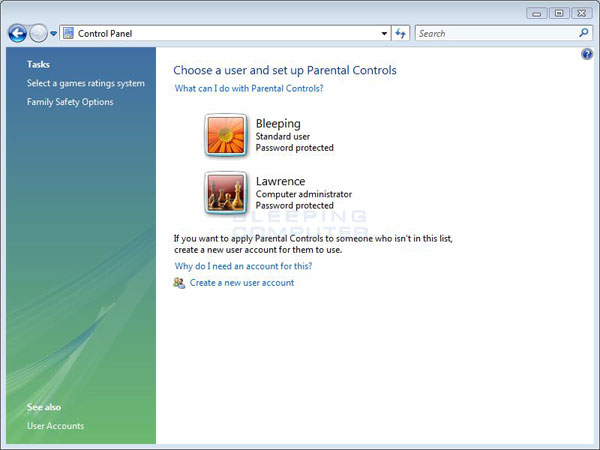 The Main Vista Parental Controls Screen