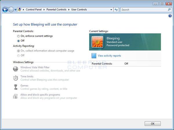 User Controls Screen