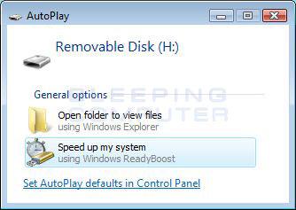 Windows ReadyBoost Prompt