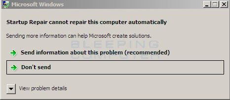 Could not repair automatically