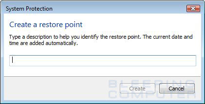 Enter title for manual restore point
