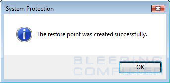 Manual restore point was created