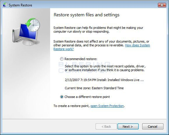 how to do full system restore on vista
