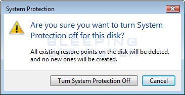 Turn off System Restore confirmation