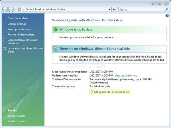 Windows vista news feed not updating