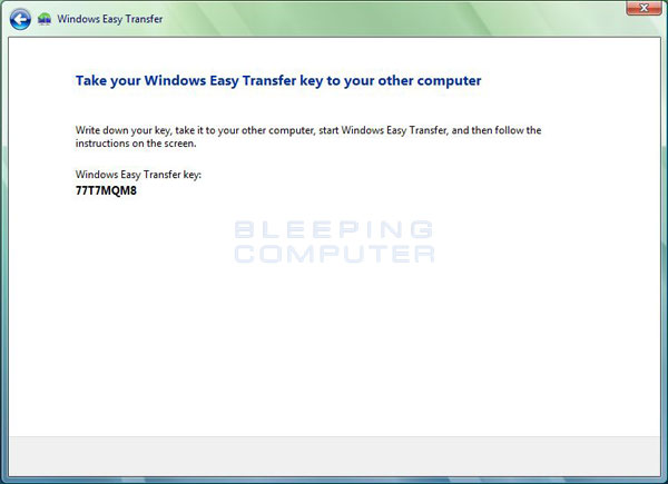 Windows Easy Transfer Network Key