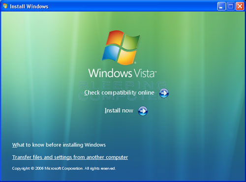 Vista DVD Setup Screen