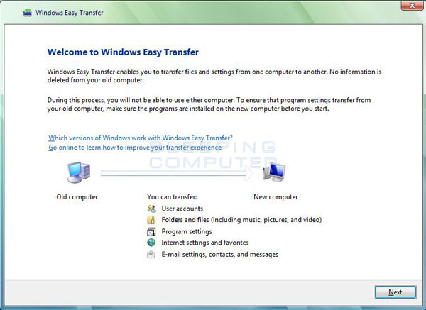 Windows Easy Transfer Welcome Screen