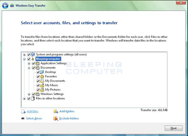 Customize the Data that will be transferred