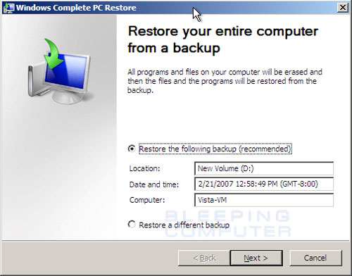Specify the backup to restore