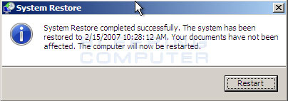System Restore needs to restart your computer