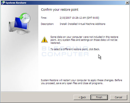 Confirm your System Restore