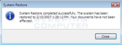 Your computer has been restore